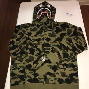 Bape green 1st camo shark hoodie